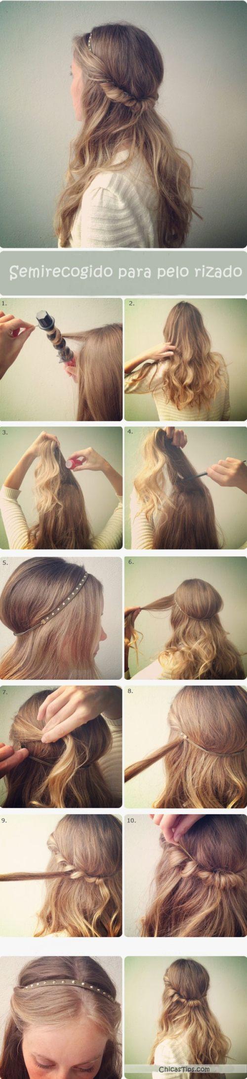 peinados faciles y rapidos para cabello rizado largo