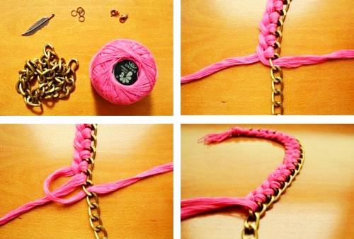 como hacer collares con hilo y metal