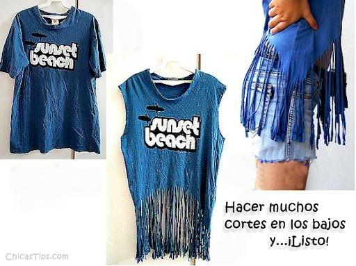 41b0a7cf5c46d ... customizar camisetas con flecos
