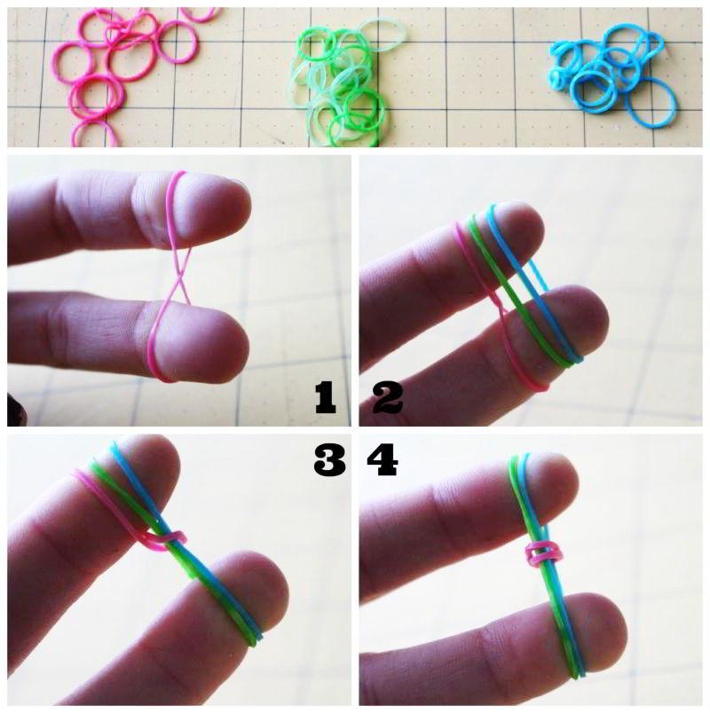 Como hacer pulseras de goma
